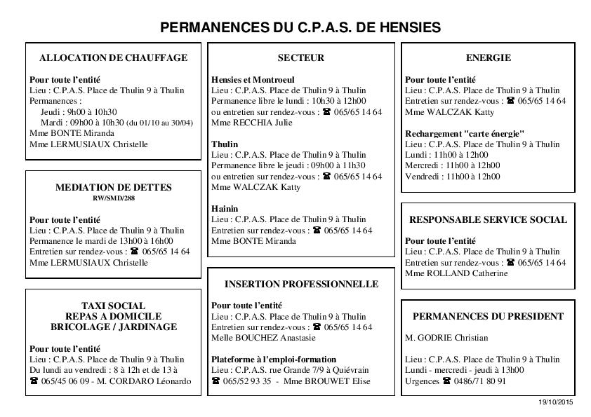 Permanences 19-10-15