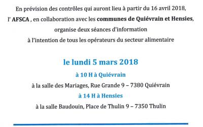 Contrôles AFSCA – Séances d'information ce 5 mars 2018