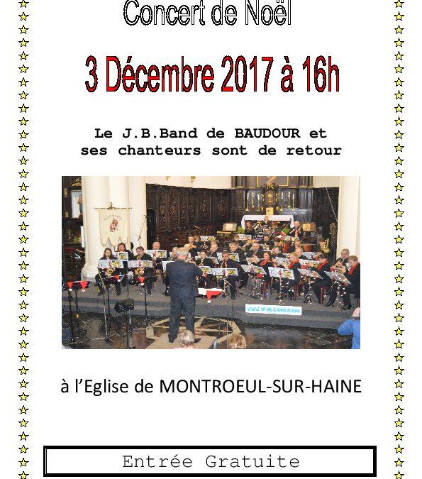Concert de Noël ce 3 décembre 2017